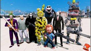 BAD ANIMATRONIC & VILLIAN SQUAD! (GTA 5 Mods For Kids FNAF RedHatter)