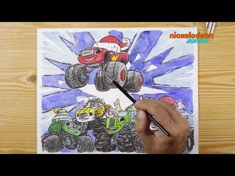 1, 2, 3… Coloriage !   Blaze et les Monster Machines   C'est Noël !   NICKELODEON JUNIOR