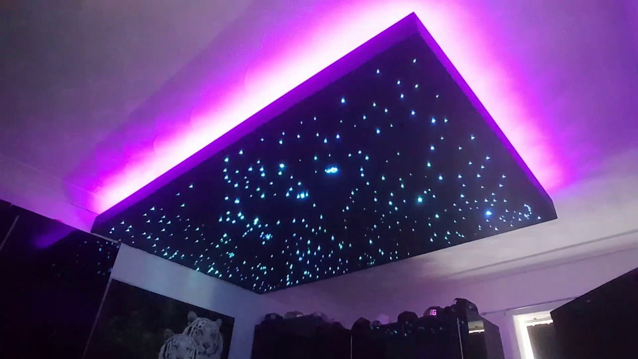 floating fibre optic and led starlight ceiling youtube. Black Bedroom Furniture Sets. Home Design Ideas