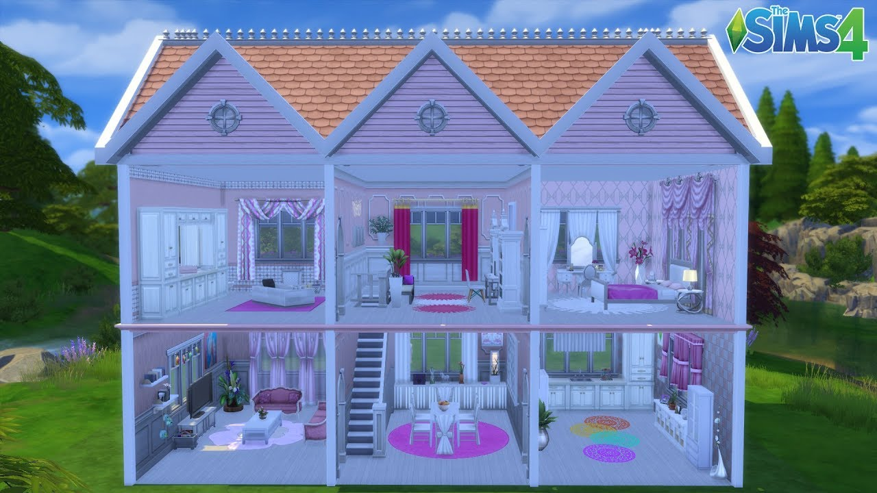 les sims 4 maison de poup e barbie sans cc youtube. Black Bedroom Furniture Sets. Home Design Ideas