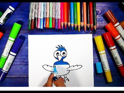 How To Draw TWEETY BLUE BIRD Learning Coloring Pages For Kids   Videos Colouring