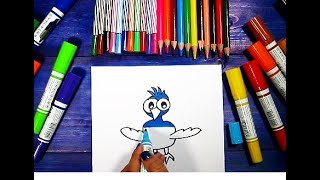 How to Draw TWEETY BLUE BIRD Learning Coloring Pages for Kids | Videos Colouring