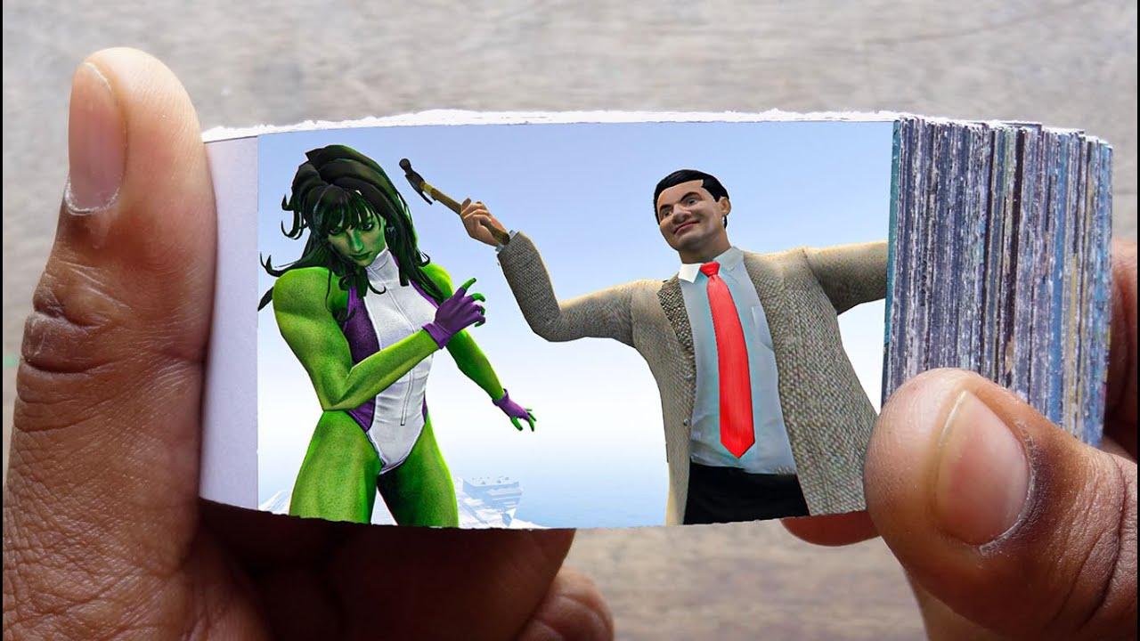 Mr. Bean Cartoon FlipBook | Angry Bean Kills She Hulk Flip Book | Flip Book Artist 2021