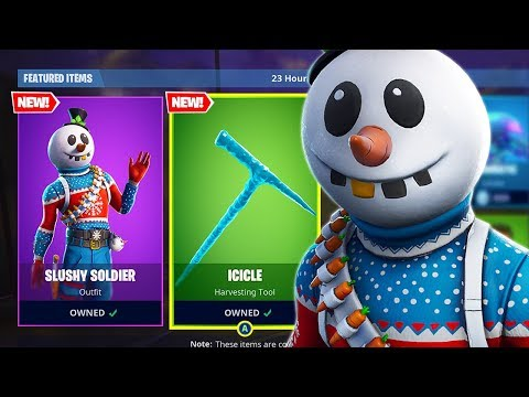 """Pro Console Player   NEW """"SNOWMAN"""" Skin & """"ICICLE"""" Axe Gameplay! (Fortnite Battle Royale) thumbnail"""