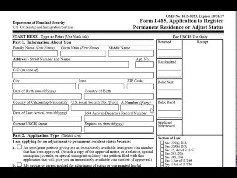 How To Fill Out I 485 Green Card Form Youtube