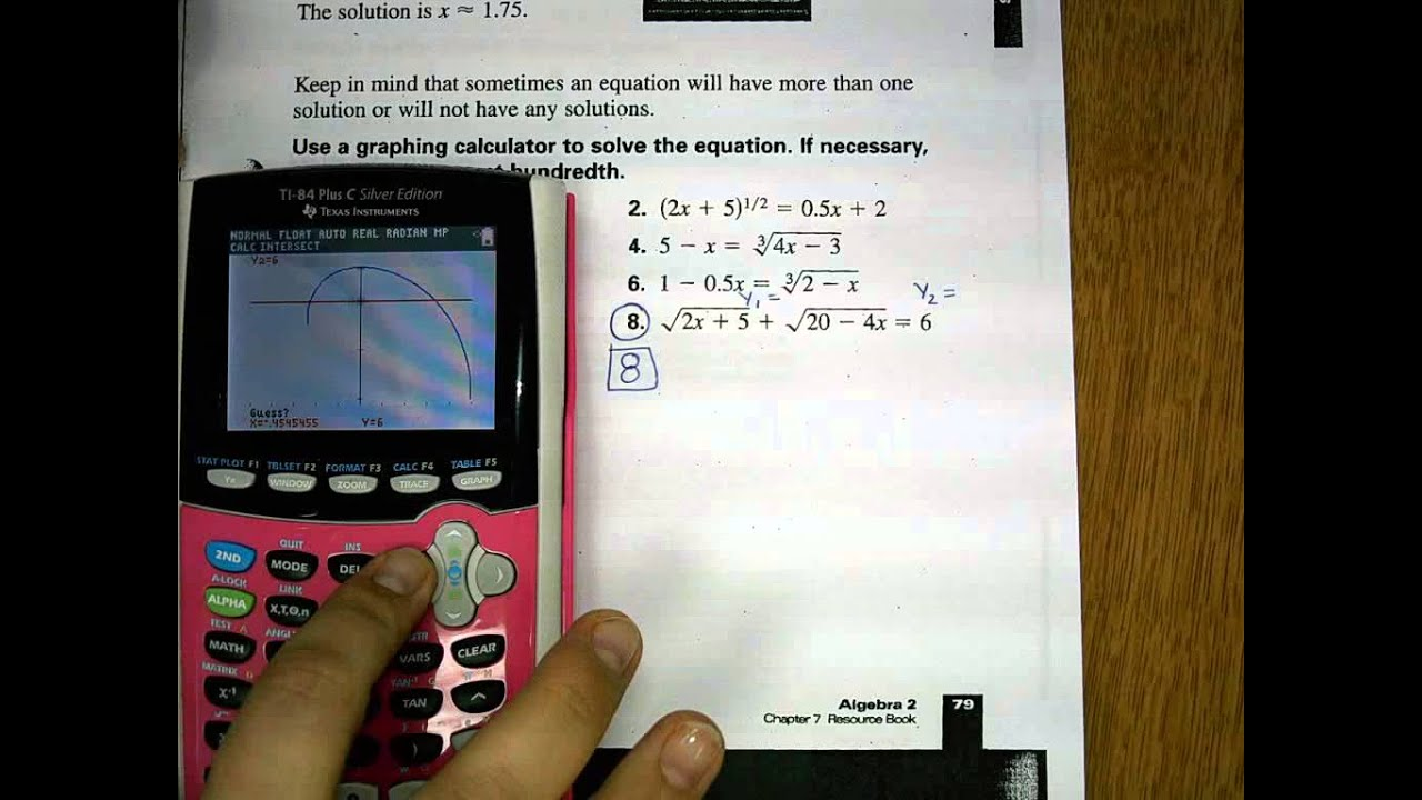 Using The Intersect Feature To Solve Radical Equations Part 2 How To Add  Fractions On Ti Ti84 Repaired