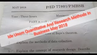 Ide Unom Quantitative And Research Methods In Business May 2018