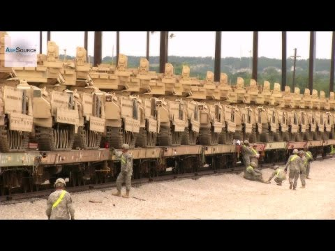 "M1 Abrams Tanks & Bradleys - ""Iron Horse Brigade"" Railhead Operations"