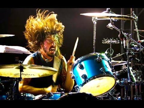 Dave Grohl playing the drums