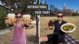 International FOOD TOUR in Austin! (Thai and Lao Street Food, Ethiopian, Israeli, & Bubble Tea)