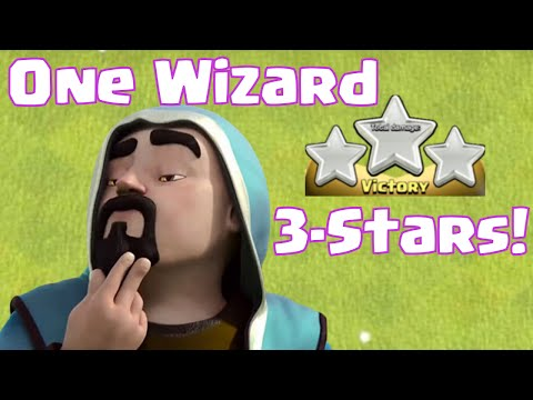 Clash Of Clans One Wizard Troop Three Stars | One Troop vs. One Base Attacks