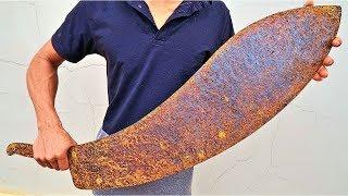 Giant Rusted Shark Sword RESTORATION - Impressive Restoration