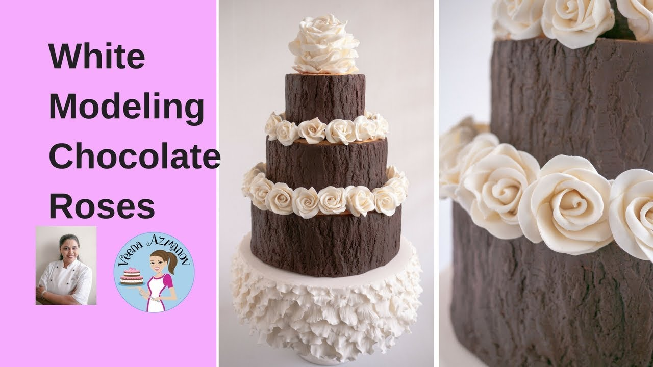 How To Make White Modeling Chocolate Roses Cake Decorating