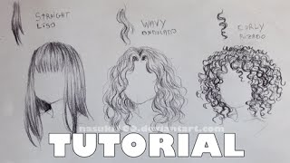 How to draw hair - straight, wavy and curly