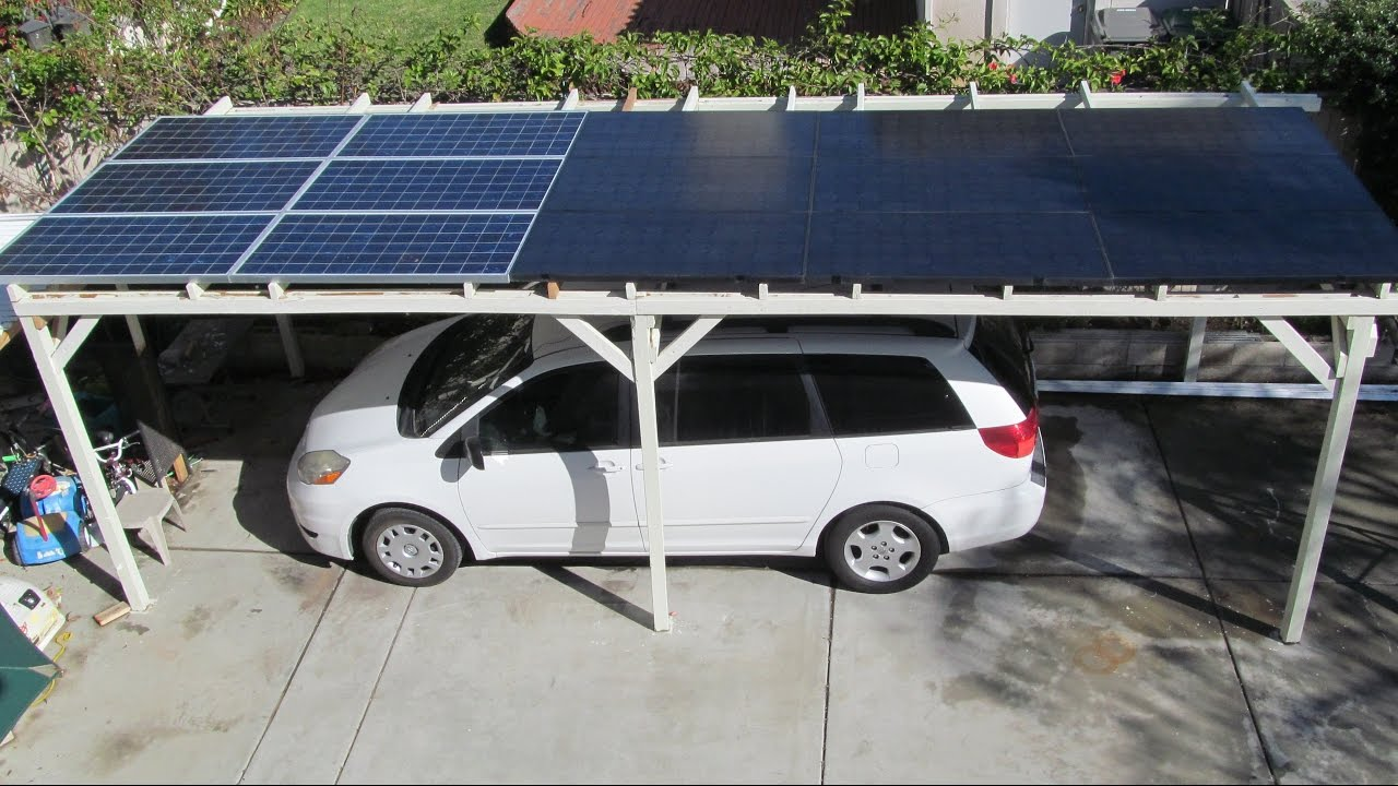 Diy Home Made 3 Kw Solar Car Port Parking Structure From Used Wood