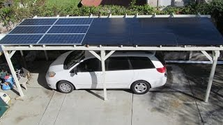 DIY: Home Made 3 KW Solar Car Port Parking structure from used wood