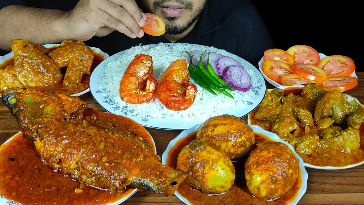 EATING WHOLE FISH CURRY, CHICKEN LIVER & GIZZARD CURRY, EGG CURRY, CHICKEN WINGS CURRY,PRAWN  SOUNDS