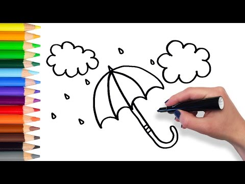 Learn How To Draw Umbrella   Teach Drawing For Kids Toddlers Coloring Page Video