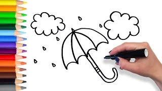 Learn how to Draw Umbrella | Teach Drawing for Kids Toddlers Coloring Page Video