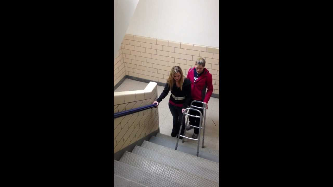Ascending stairs with standard walker  YouTube