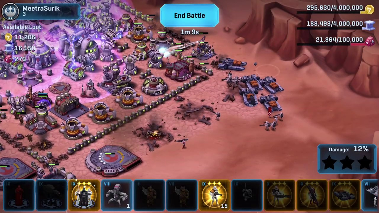 Repeat Star Wars Commander iOS - Lord Vader 501st Legion Level 5