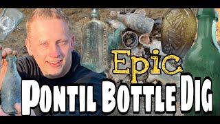 1860's Bottle Dump! Pontils Squat Sodas & MORE! Metal Detecting Privy Relics SICK Early Bottles dig!