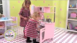 Kidkraft Pink Vintage 53179 Childrens Play Toy Kitchen Educational Wooden Role Play Toys