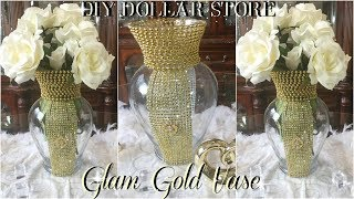 DIY DOLLAR STORE GLAM GOLD VASE DECOR | EASY & INEXPENSIVE DIY | HOME DECOR IDEAS 2018