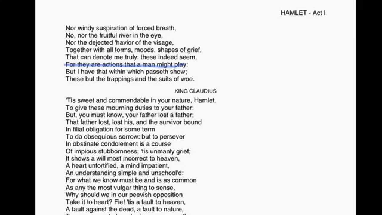 Hamlet Act 1 Scene 2 Youtube King Claudiu Speech Analysis