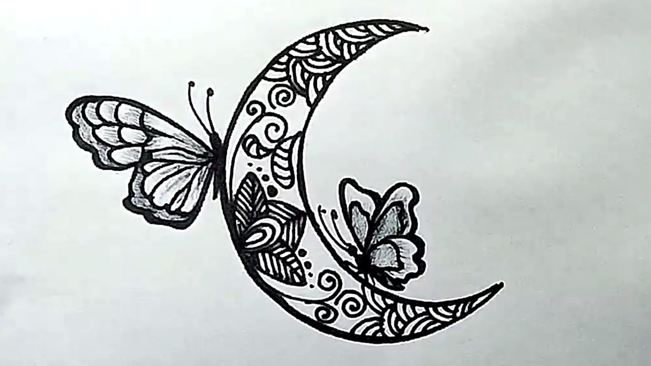 How To Draw A Moon Doodle With Butterflies Easy Drawing Youtube