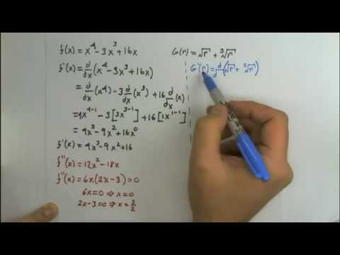 Find first and second derivative, factor variables with fractions for exponents