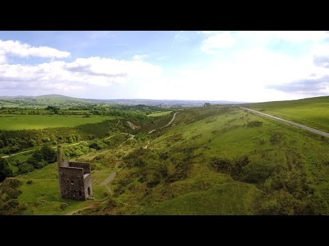 Abandoned Dartmoor tin mine from the air