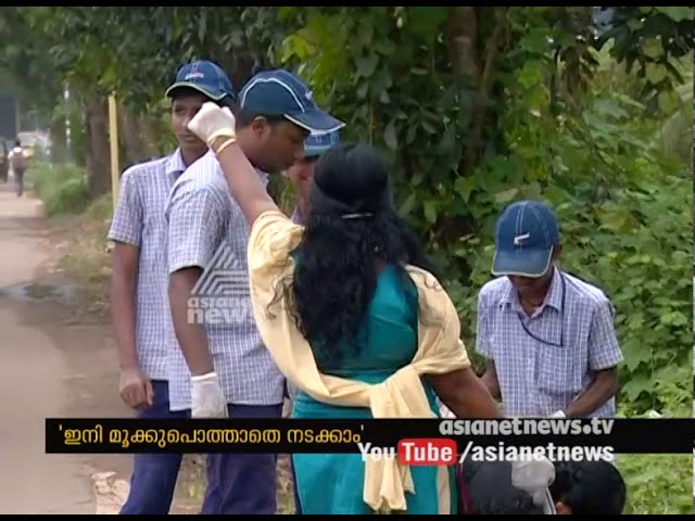 Students from Seva Niketan cleaned Kottayam changanassery bypass road