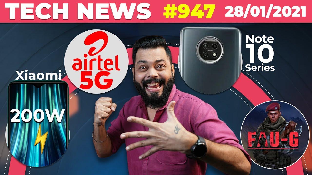Airtel 5G Is Here, Redmi Note 10 Series Key Specs, Xiaomi 200W Charging, FAUG, realme V13 -#TTN947