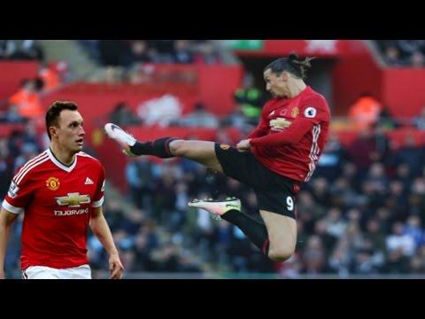 Zlatan Ibrahimovic Historic Goal And Fly Kick Celebration Vs Swansea!!