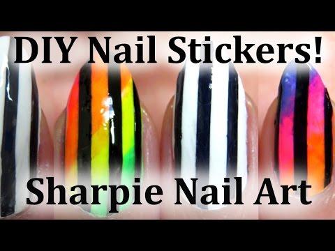Perfect Stripe Sharpie Nail Art Tutorial - DIY Nail Stickers