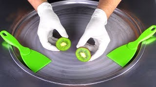 ASMR - green Kİwi Fruit Ice Cream Rolls with Peel   oddly satisfying relaxing fast & rough ASMR Food