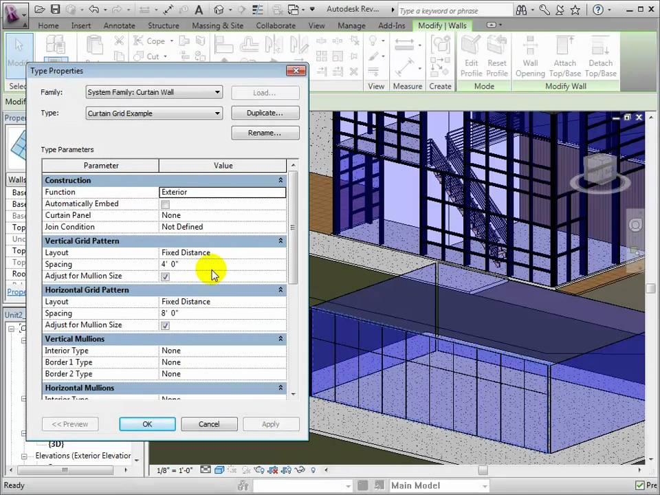 Revit Architecture Creating Curtain Wall Types And Grid