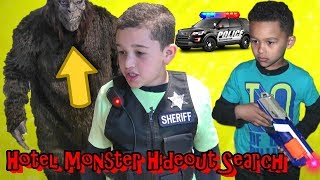 MONSTER Invades HOTEL! COP KIDS search and find SHOCKING SURPRISE....