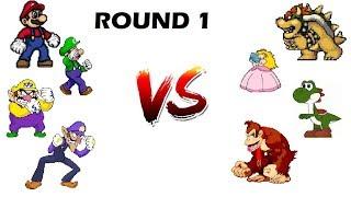 Mugen Team Battles: Round 1: Team Mario vs Team Mushroom