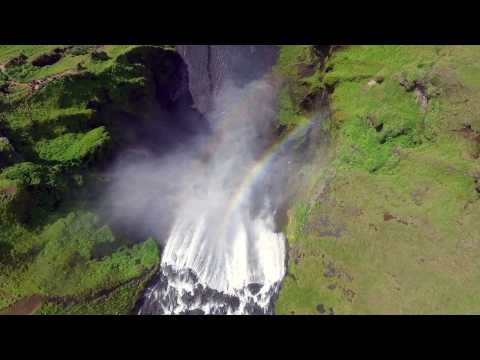 Skógafoss Waterfall Iceland (Drone Footage)