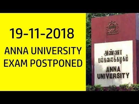 ANNA UNIVERSITY EXAM POSTPONED | 19-11-2018