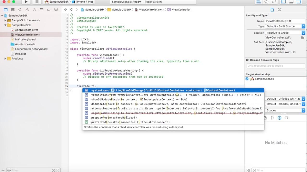 create framework for iOS with swift
