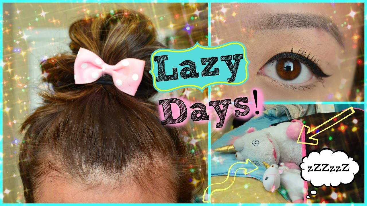 Makeup + Hair for Lazy College Students! - YouTube