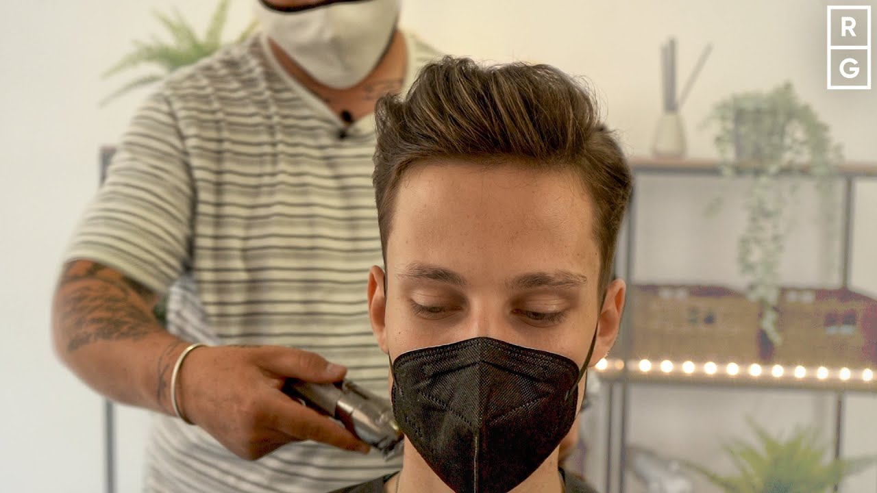 Guy Gets NATURAL Side Part Haircut Pushed Up & Back on Top