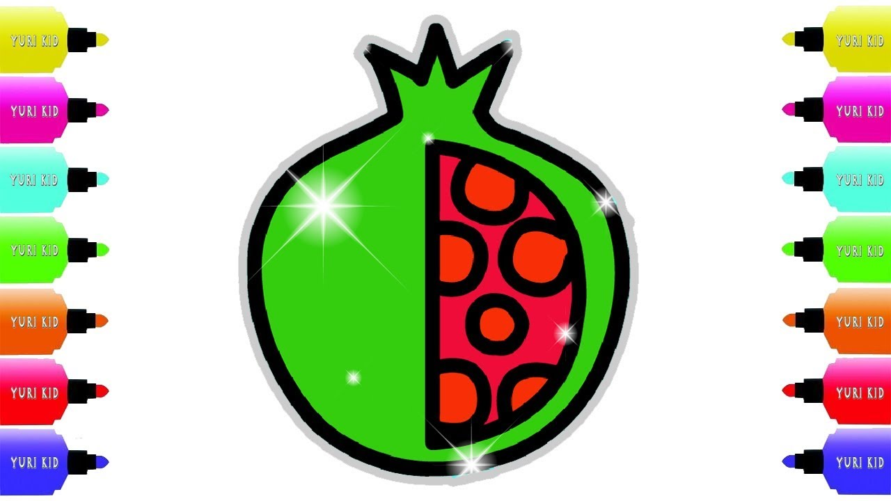 Apple Coloring Pages   How To Draw Apple And Pomegranate With Yuri ...