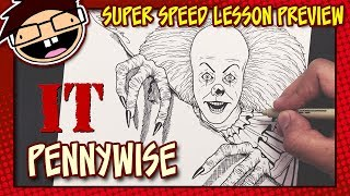 Lesson Preview: How to Draw PENNYWISE THE CLOWN (IT [1990] TV Series) | Super Speed Time Lapse Art