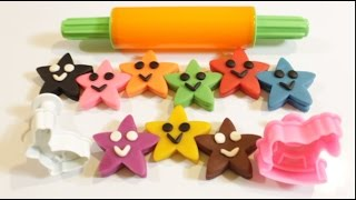 learn colors for children toddlers with play doh smiley stars   learning video for kids