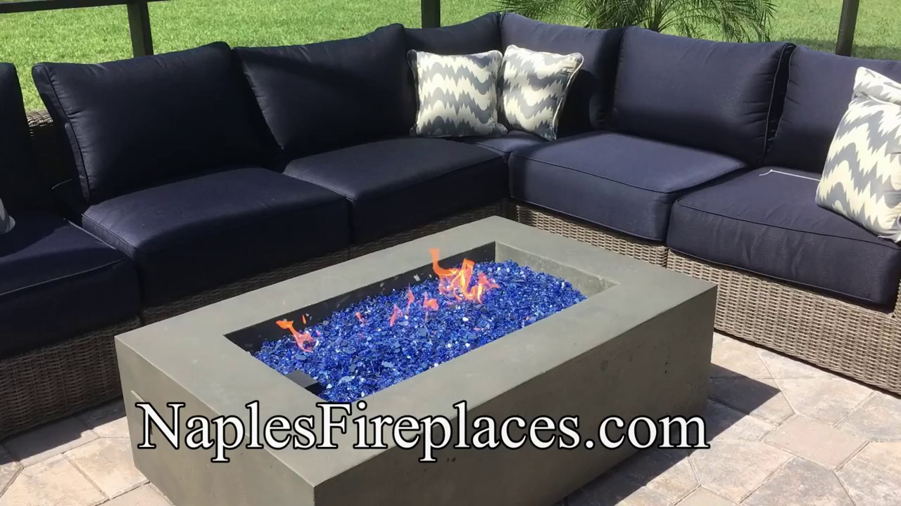 Exceptionnel Fire Table With Blue Fire Glass NaplesFireplaces.com