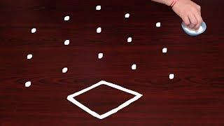 Rangoli With Geometric(Rhombus) Shapes 5X3 Dots | Rangoli | Muggulu | Rangoli Designs